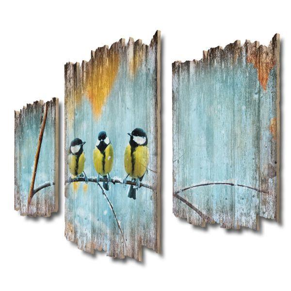 Kohlmeisen im Winter Shabby chic 3-Teiler Wandbild aus Massiv-Holz