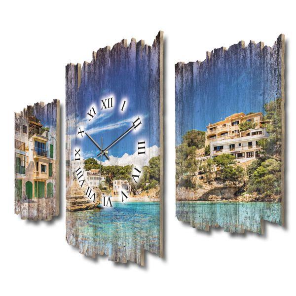 Balearen Mallorca Shabby chic Dreiteilige Wanduhr aus MDF mit leisem Funk- oder Quarzuhrwerk