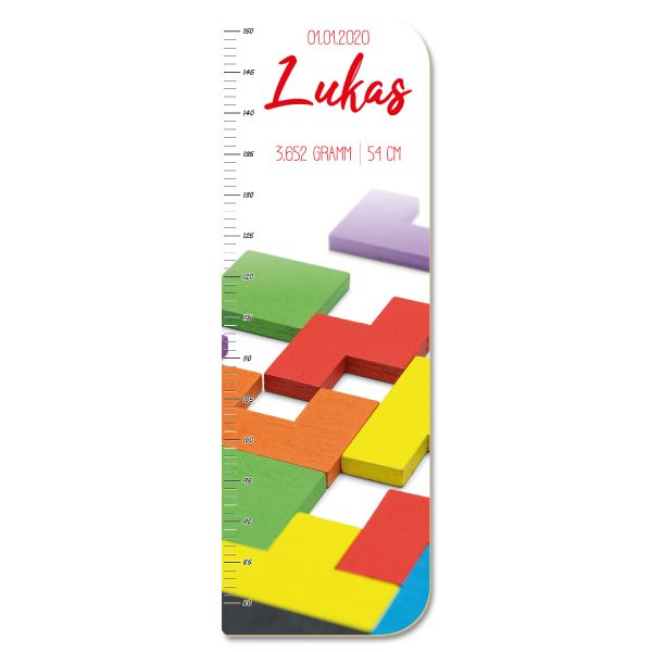 Bunte Tetrissteine Messlatte fürs Kinderzimmer aus MDF