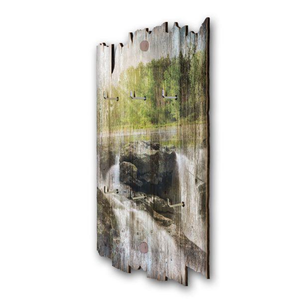 Zwei Wasserfälle Schlüsselbrett mit 6 Haken im Shabby Style aus Holz