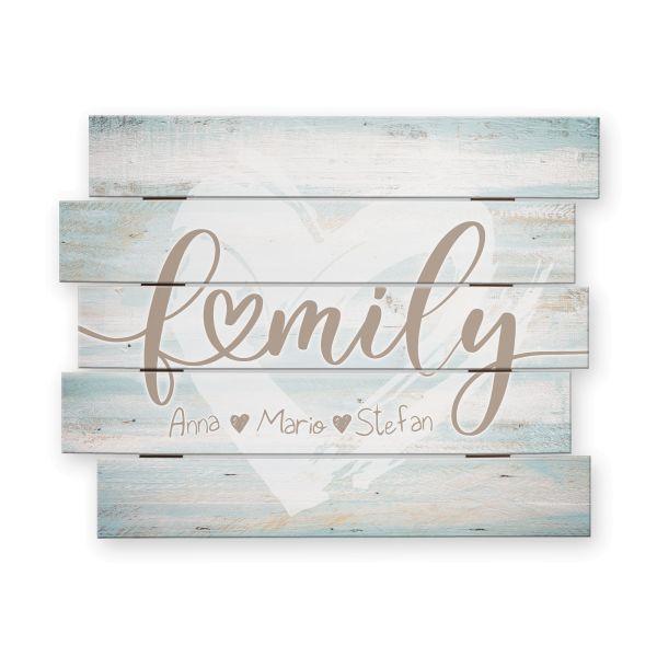 Family | Shabby chic Holzbild mit Ihrem Wunschtext | ca.60x44cm | wahlw. mit Beleuchtung