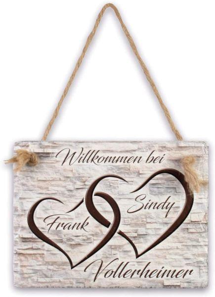 Herzen | Türschild aus Schiefer mit Ihrem Wunschtext | in Beige oder Schwarz