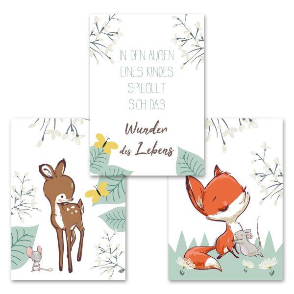 """""""Fuchs, Reh und Maus"""" 3-teiliges Poster-Set fürs Kinderzimmer im """"Norwegian Style"""""""