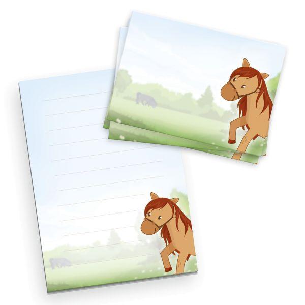 Briefpapier-Set für Kinder   Pferd   DIN A5 Briefpapier-Block 50 Blatt mit 20 Umschlägen