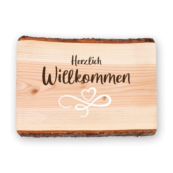 Willkommen | Holzschild mit dekorativen Motiven | ideale Deko für die Haustür