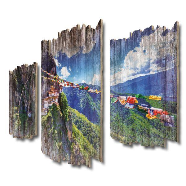 Tigernest Bhutan Shabby chic 3-Teiler Wandbild aus Massiv-Holz