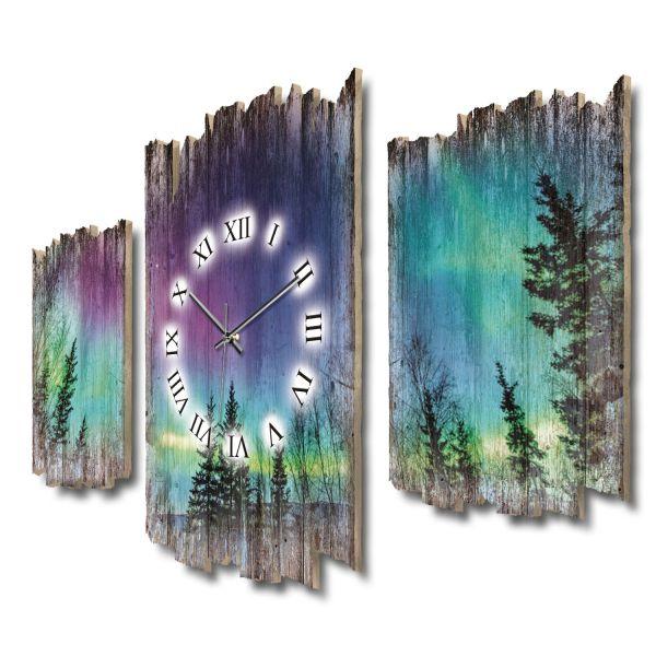 Nordlichter Wald Shabby chic Dreiteilige Wanduhr aus MDF mit leisem Funk- oder Quarzuhrwerk