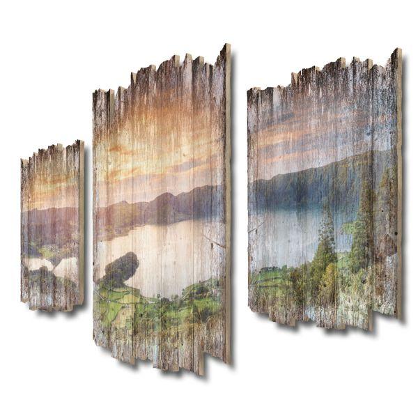 Azoren-Panorama Shabby chic 3-Teiler Wandbild aus Massiv-Holz