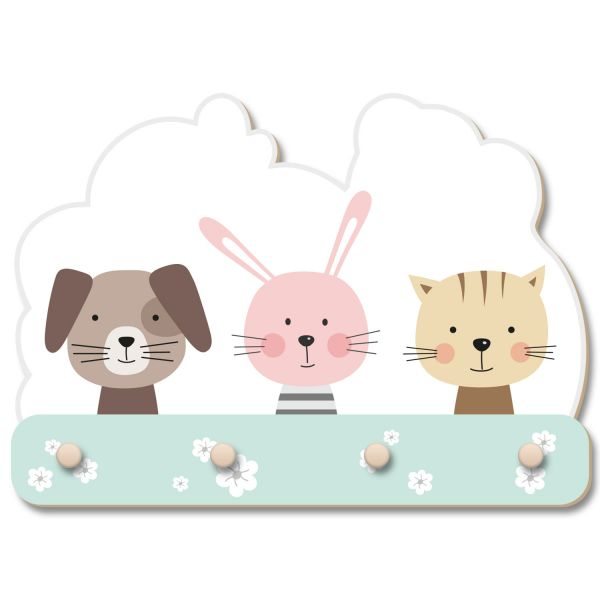 Hund, Hase und Katze Wandgarderobe fürs Kinderzimmer im Norwegian Style aus Holz
