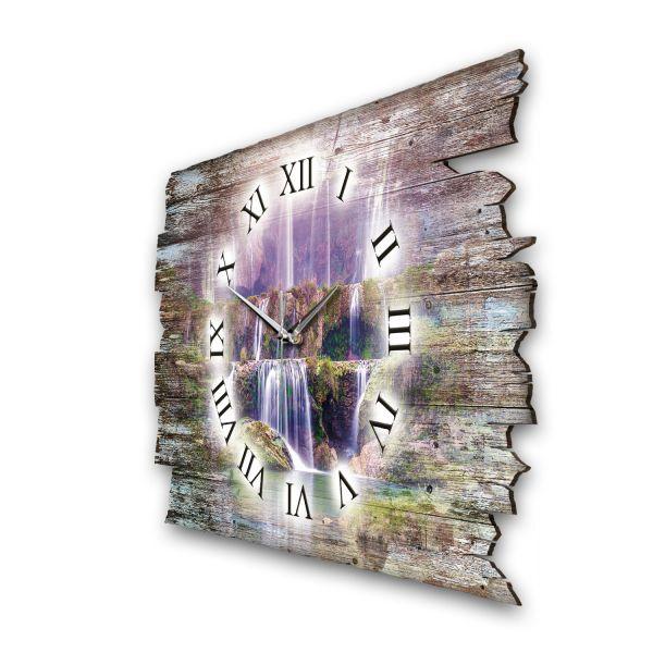 """Designer Funk-Wanduhr """"Violetter Wasserfall"""" aus Naturholz mit leisem Funk- oder Quarzuhrwerk"""