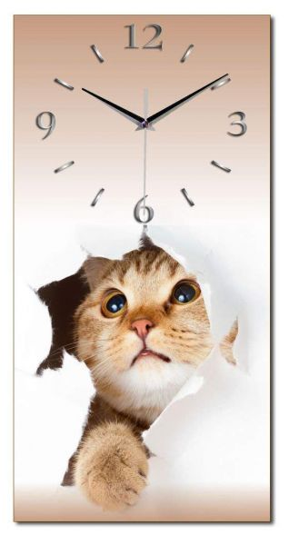 Wanduhr Katze aus Alu-Verbund mit leisem Funkuhrwerk