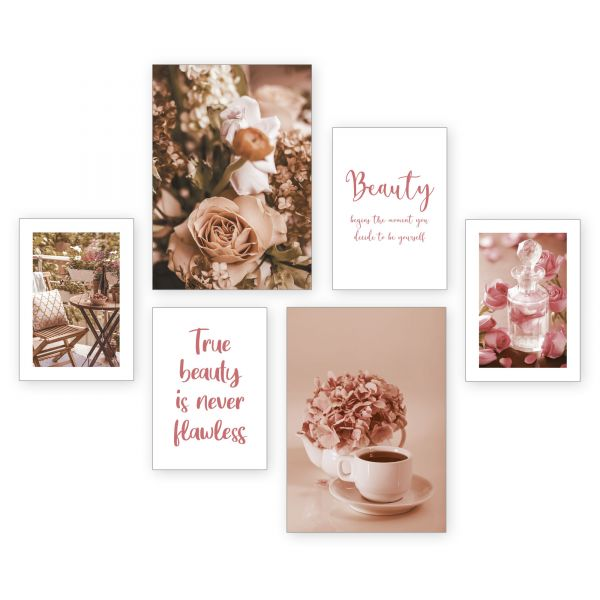 """True Beauty"" 6-teiliges Poster-Set - optional mit Rahmen - 2 x DIN A3 & 4 x DIN A4"