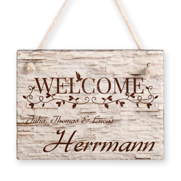 Welcome | Türschild aus Schiefer mit Ihrem Wunschtext | in Beige oder Schwarz