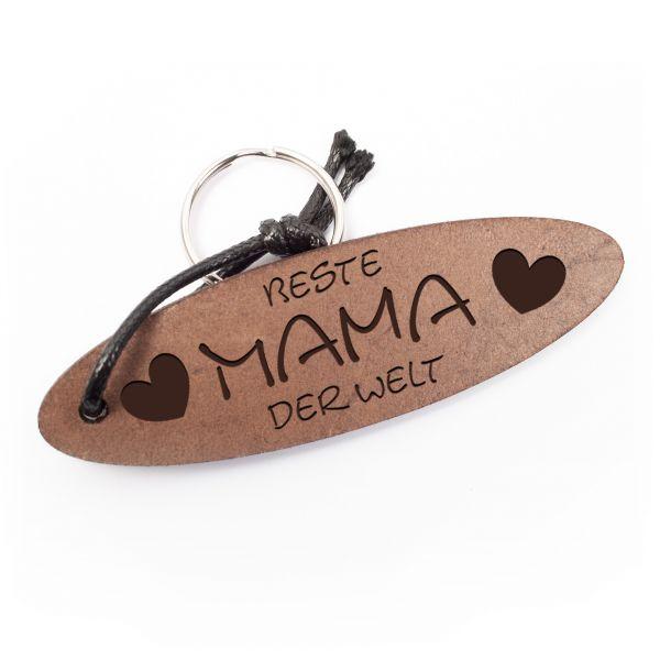 Schlüsselanhänger oval aus Echtleder mit Gravur im Used Look | beste Mama der Welt