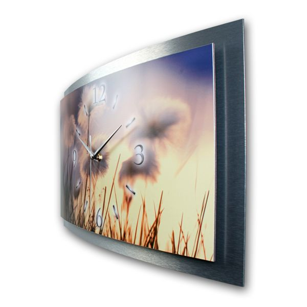 "3D Wanduhr ""Pusteblumen"" aus gebürstetem Aluminium mit leisem Funk- oder Quarzuhrwerk"