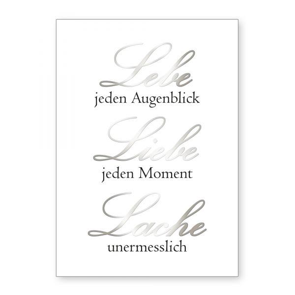 """""""Lebe Liebe Lache"""" mit Chrom-Effekt veredeltes Poster - optional mit Rahmen - DIN A4"""