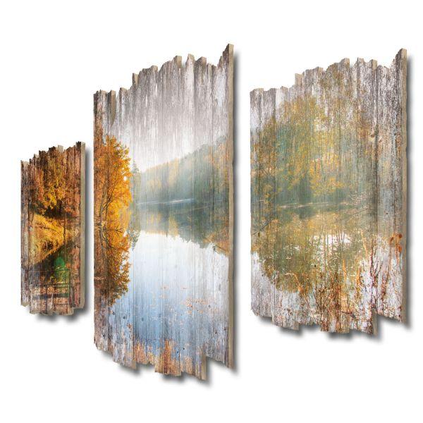 Herbstlicher See Shabby chic 3-Teiler Wandbild aus Massiv-Holz