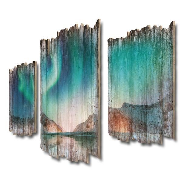 Nordlicht Eismeer Shabby chic 3-Teiler Wandbild aus Massiv-Holz