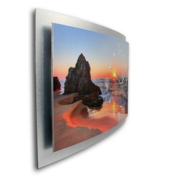 3D Wanduhr Beach aus gebürstetem Aluminium mit leisem Funkuhrwerk