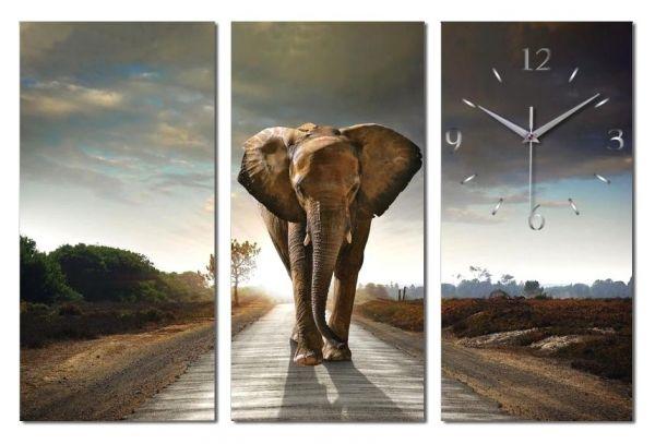 3 Teilige Wanduhr Elefant XXL aus Aluminium mit leisem Funkuhrwerk