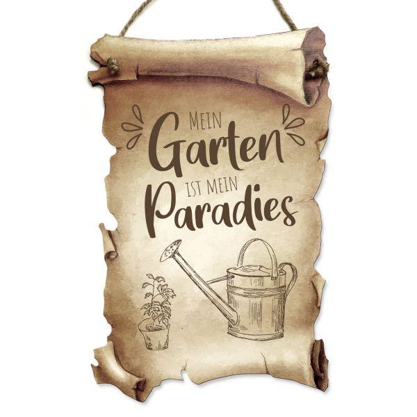 Deko-Schild aus Holz in Schriftrollen-Optik mit Spruch | Garten Paradies | ideales Geschenk