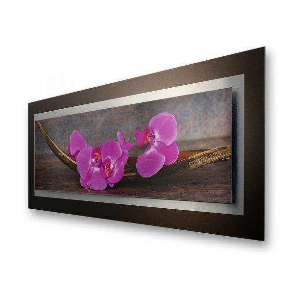 "3D Alu-Wandbild ""Orchidee"" aus gebürstetem Aluminium"