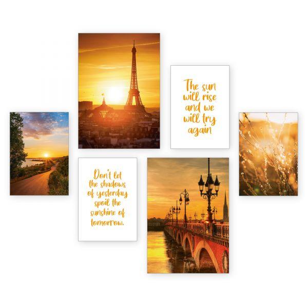 """Sonnenuntergang"" 6-teiliges Poster-Set - optional mit Rahmen - 2 x DIN A3 & 4 x DIN A4"