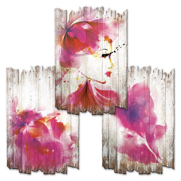 Blüte Pink | Deko-Holzschilder im 3er Set | wahlw. in 30x20cm oder 30x45cm