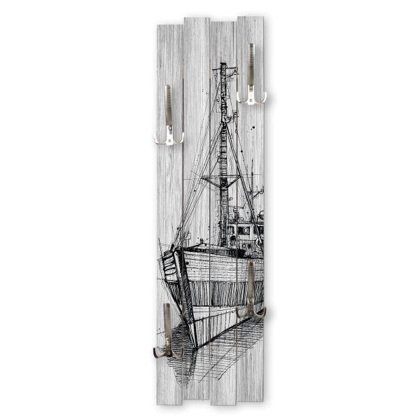 Schiff | Shabby chic Holz-Garderobe | ca.100x30cm aus MDF