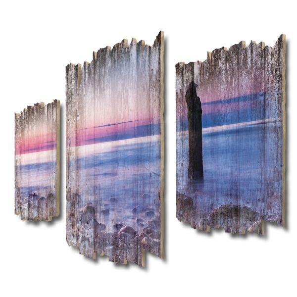 Sonnenuntergang Ostsee Shabby chic 3-Teiler Wandbild aus Massiv-Holz