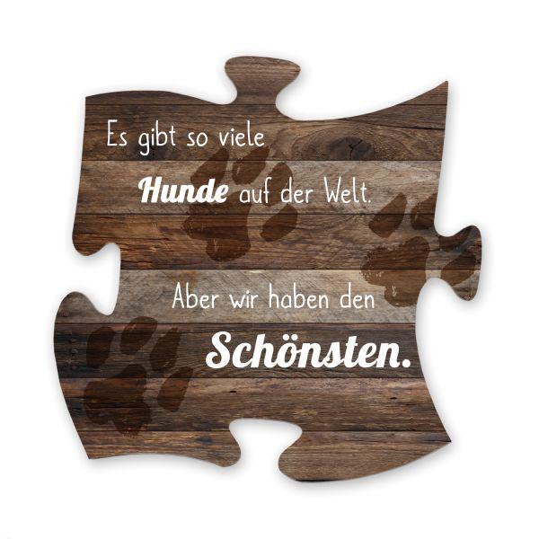 Hund | Deko-Schild Holz-Puzzleteil ca. 30cm x 30cm | Shabby Chic Design