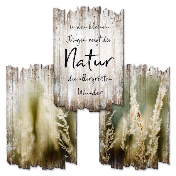 Natur | Deko-Holzschilder im 3er Set | wahlw. in 30x20cm oder 30x45cm