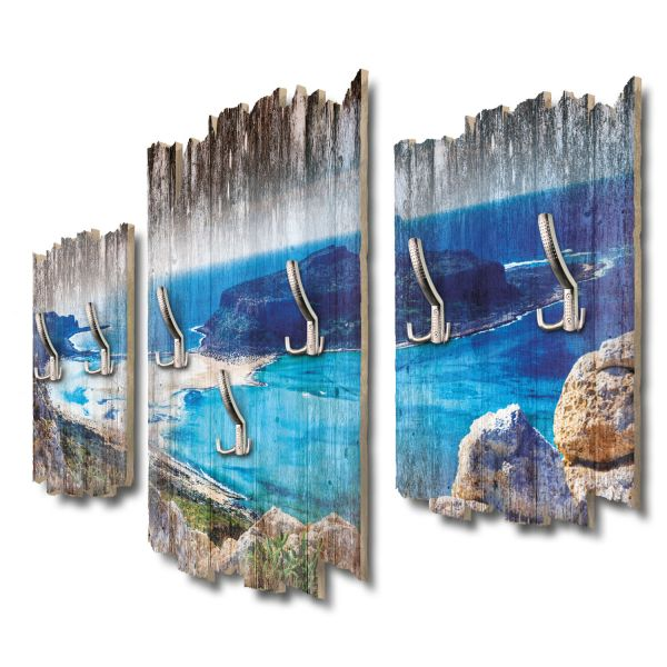 Balos Bucht Kreta Shabby chic 3-Teiler Garderobe aus MDF