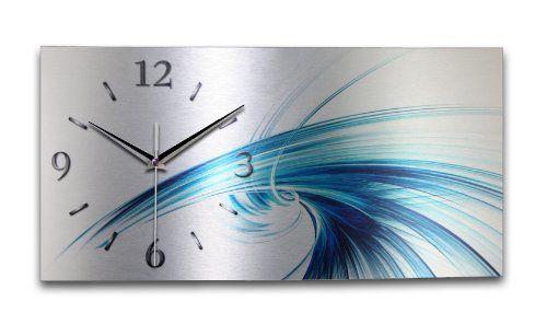 Wanduhr Abstrakt Blau aus gebürstetem Aluminium mit leisem Funkuhrwerk