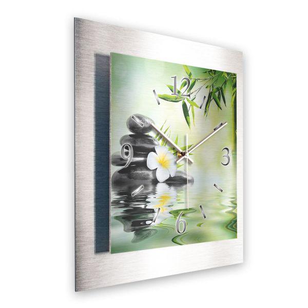 """3D Wanduhr """"Harmonie"""" aus gebürstetem Aluminium mit leisem Funk- oder Quarzuhrwerk"""