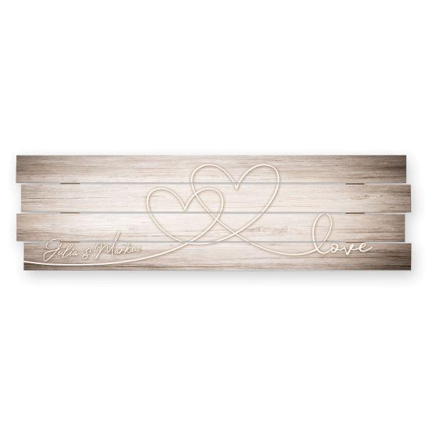 Love | Shabby chic Holzbild mit Ihrem Wunschtext | ca.100x30cm | wahlw. mit Beleuchtung