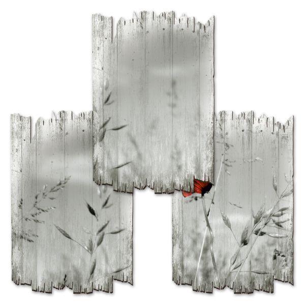 Mohnblume | Deko-Holzschilder im 3er Set | wahlw. in 30x20cm oder 30x45cm