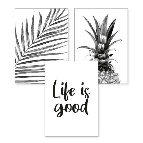 3-teiliges Poster-Set | Life is good | optional mit Rahmen | DIN A4 oder A3