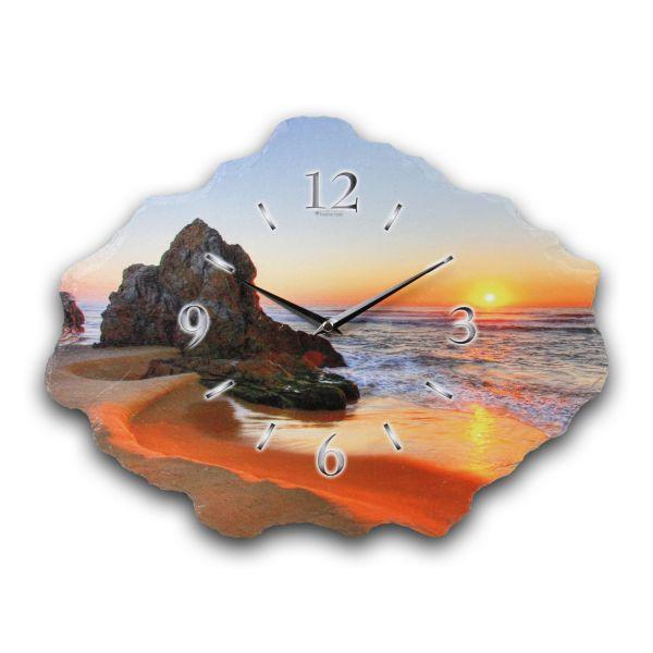 Beach Designer Funk-Wanduhr aus echtem Naturschiefer mit leisem Funkuhrwerk