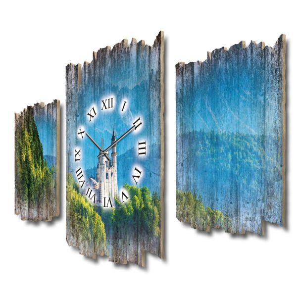 Schloss Neuschwanstein Shabby chic Dreiteilige Wanduhr aus MDF mit leisem Funk- oder Quarzuhrwerk
