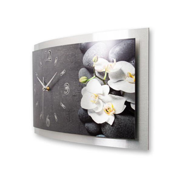 """3D Wanduhr """"Weiße Orchidee"""" aus gebürstetem Aluminium mit leisem Funk- oder Quarzuhrwerk"""