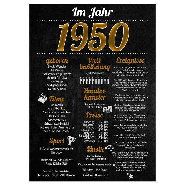 1950 Poster | für Geburtstag, Jubiläum oder Hochzeitstag | Party-Schild | A4 oder A3