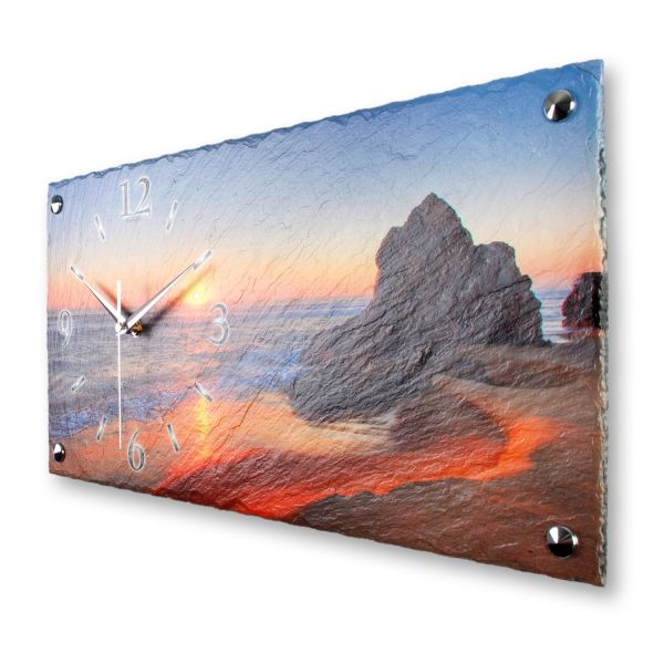 "Designer Wanduhr ""Felsen am Strand"" aus echtem Naturschiefer mit leisem Funk- oder Quarzuhrwerk"