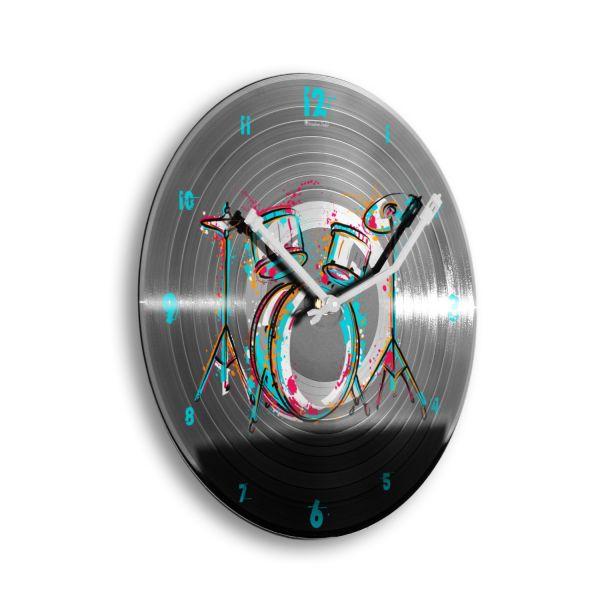 """Schallplattenuhr """"Drum Kit"""" wahlw. mit leisem Funk- oder Quarzuhrwerk"""