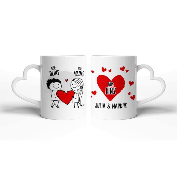 Tasse mit Ihrem Wunschnamen | Keramiktasse mit herzförmigem Henkel | ideales Geschenk