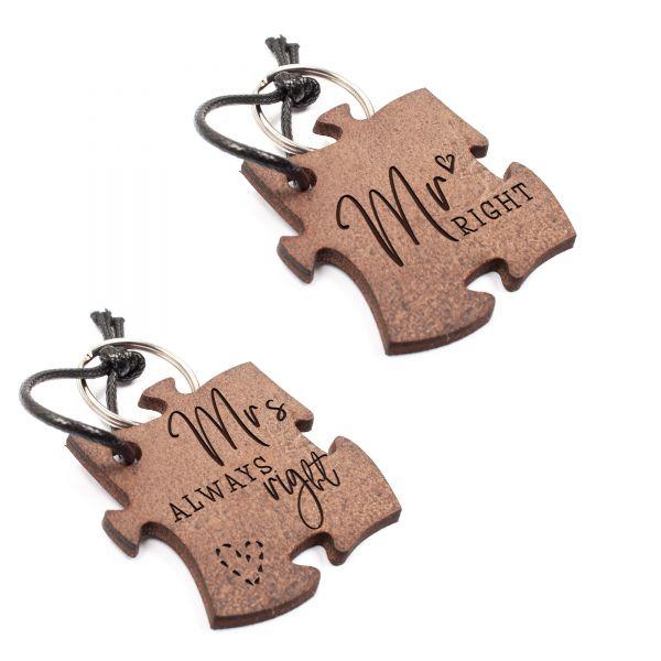 Set 2 Schlüsselanhänger Puzzle aus Echtleder mit Gravur im Used Look | MR & MRS