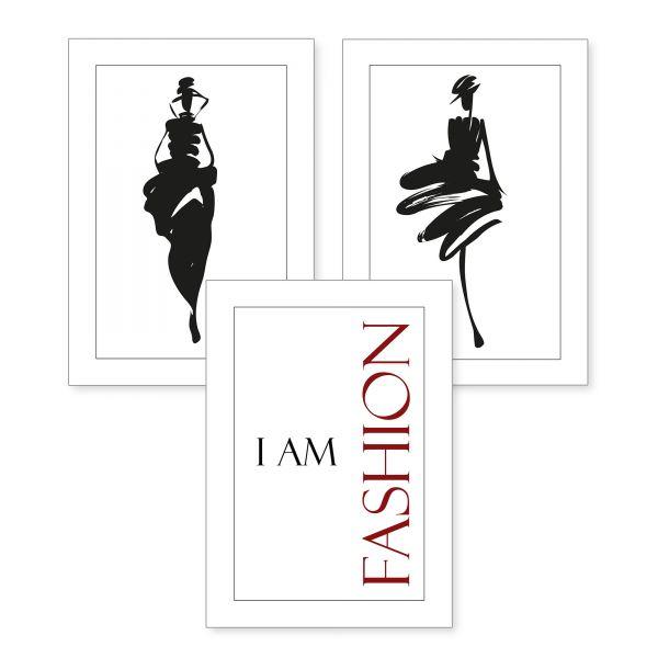3-teiliges Poster-Set | Fashion | optional mit Rahmen | DIN A4 oder A3