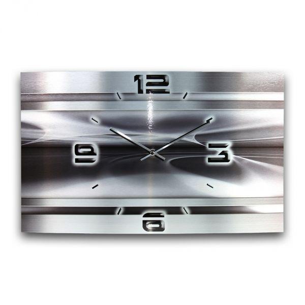 Wanduhr Abstrakt Metallic aus gebürstetem Aluminium mit leisem Funkuhrwerk