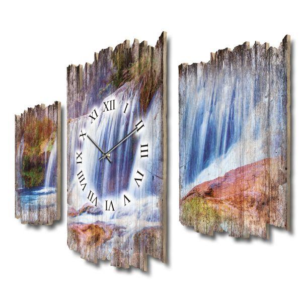 Wasserfallpanorama Shabby chic Dreiteilige Wanduhr aus MDF mit leisem Funk- oder Quarzuhrwerk