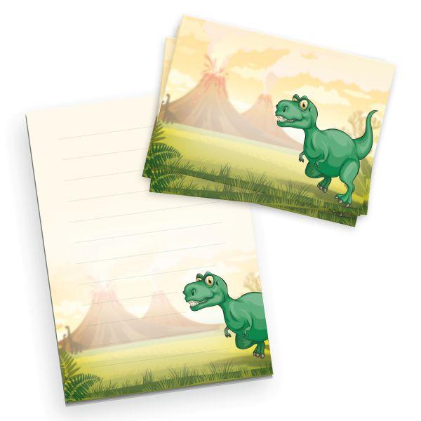 Briefpapier-Set für Kinder | T-Rex | DIN A5 Briefpapier-Block 50 Blatt mit 20 Umschlägen